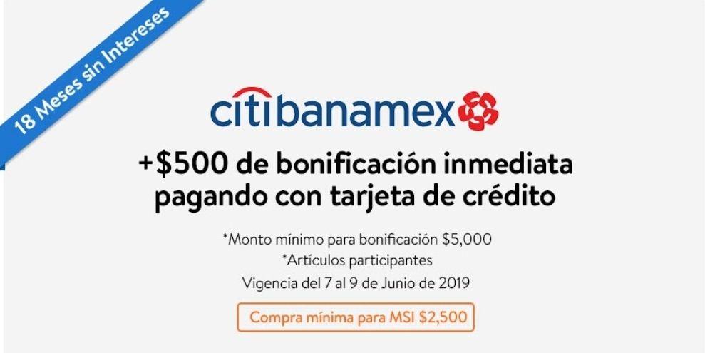 Walmart: $500 de descuento en compra minima 5000 de artículos participantes con citibanamex hasta el 9 de junio
