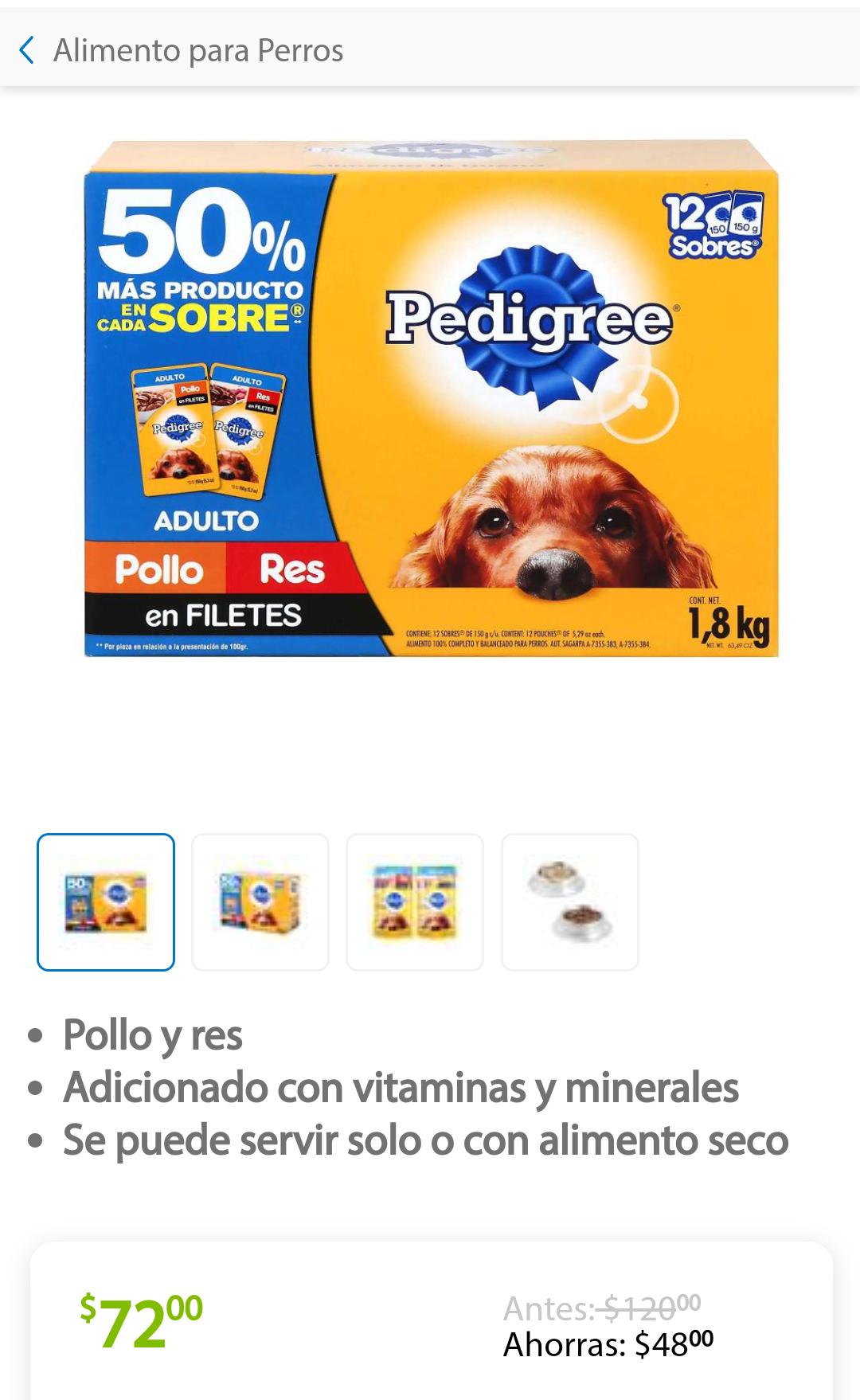 Sam's Club: Alimento para Perro Pedigree Adulto 12 pzas de 150 g