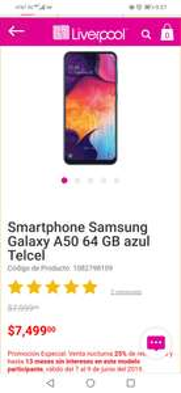 Liverpool - Samsung Galaxy A50 64 GB (25%de reembolso + 13MSI)