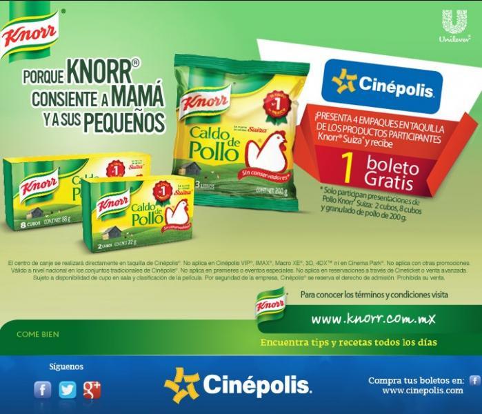 Boleto para Cinépolis gratis comprando productos Knorr, descuentos en Six Flags y más