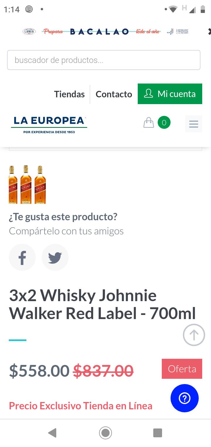 La Europea: Whisky Johnnie Walker Red Label, 3 x $558