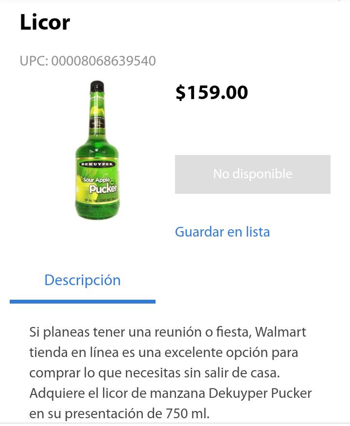 Walmart Licor Manzana Pucker