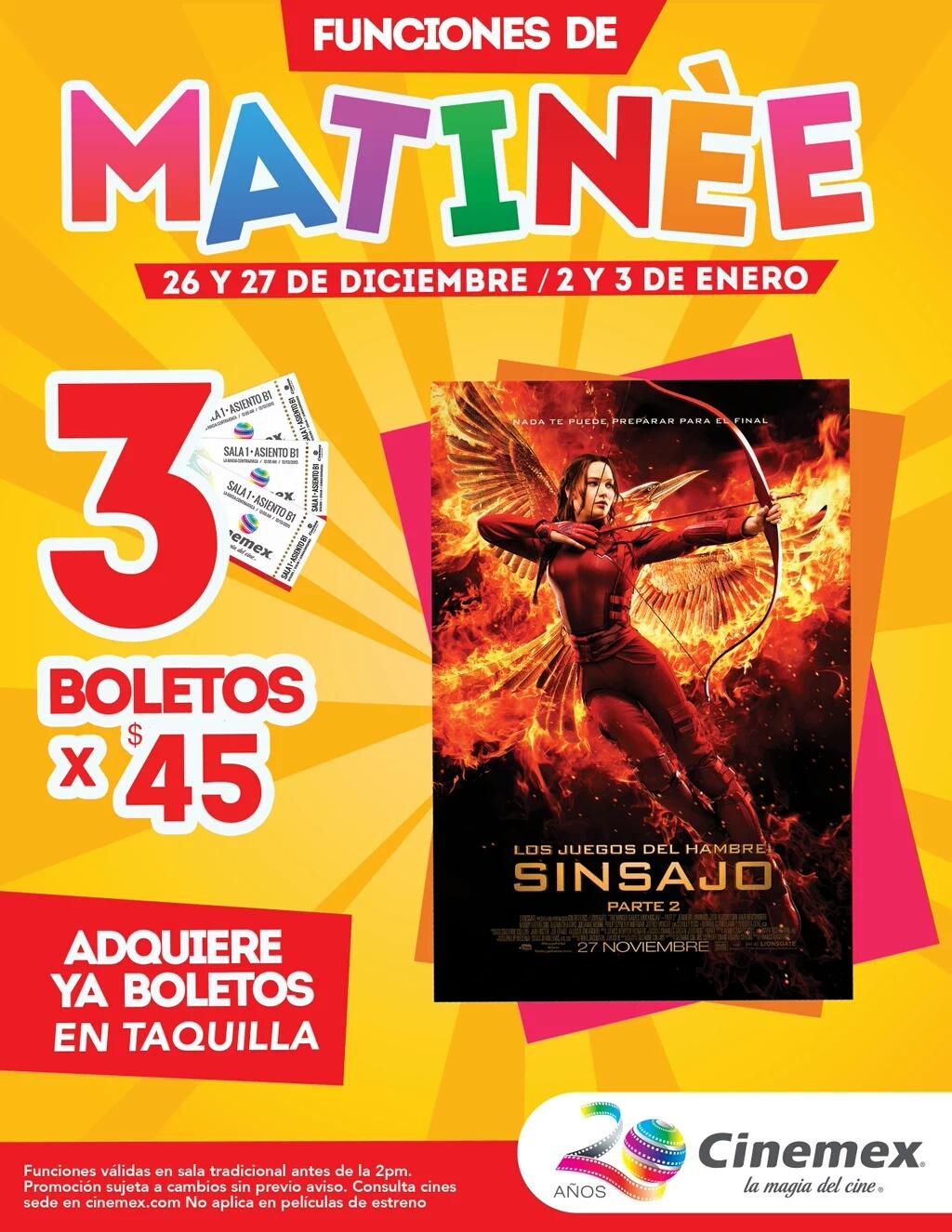 Cinemex: 3 boletos para matinée de Sinsajo parte II por $45