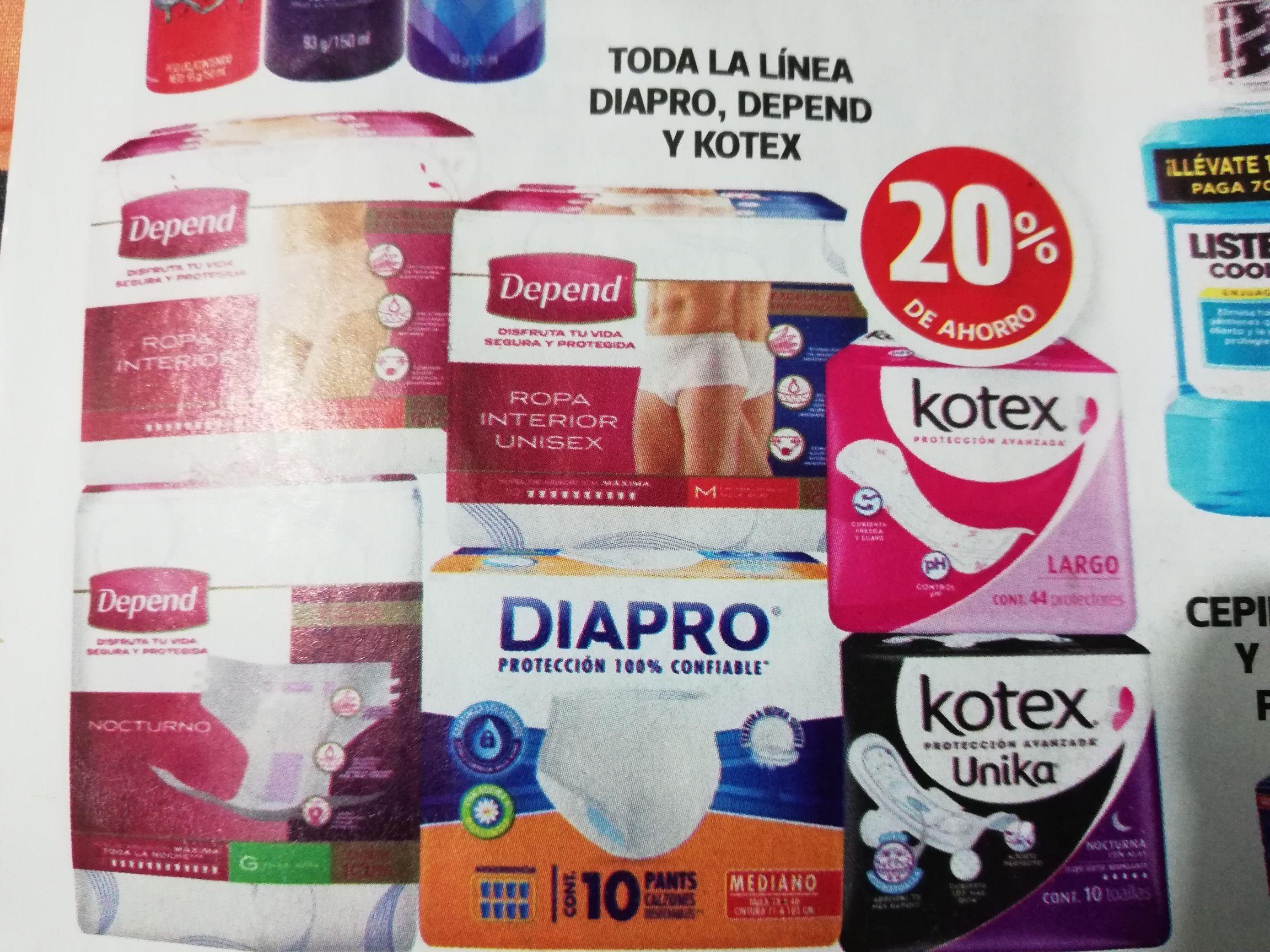 Farmacias Guadalajara: 20% de descuento en pañales Diapro, Depend y Kotex