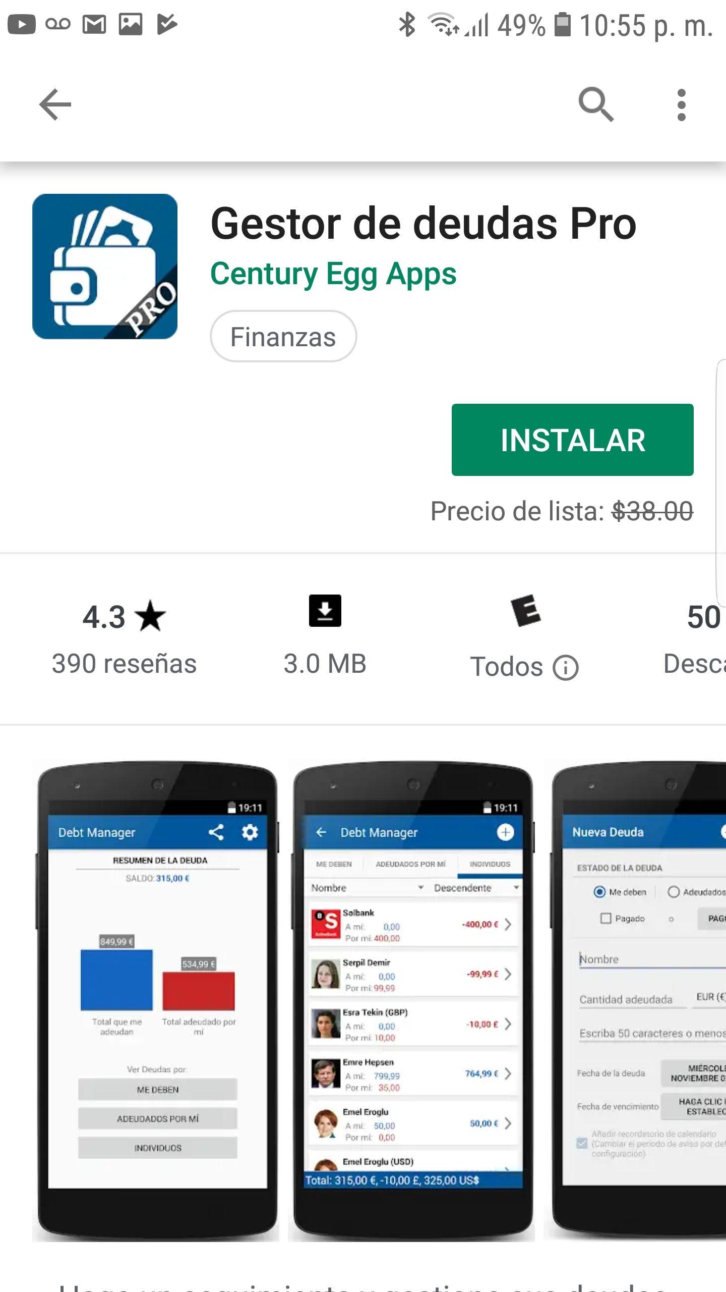 Google Play: Gestor de deudas Pro GRATIS