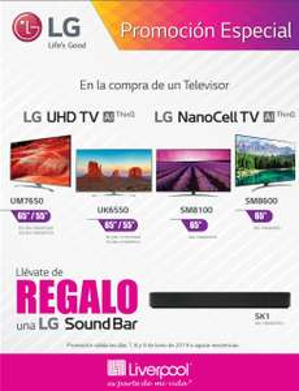 Liverpool: Barra de sonido SK1 de regalo en la compra de TV LG