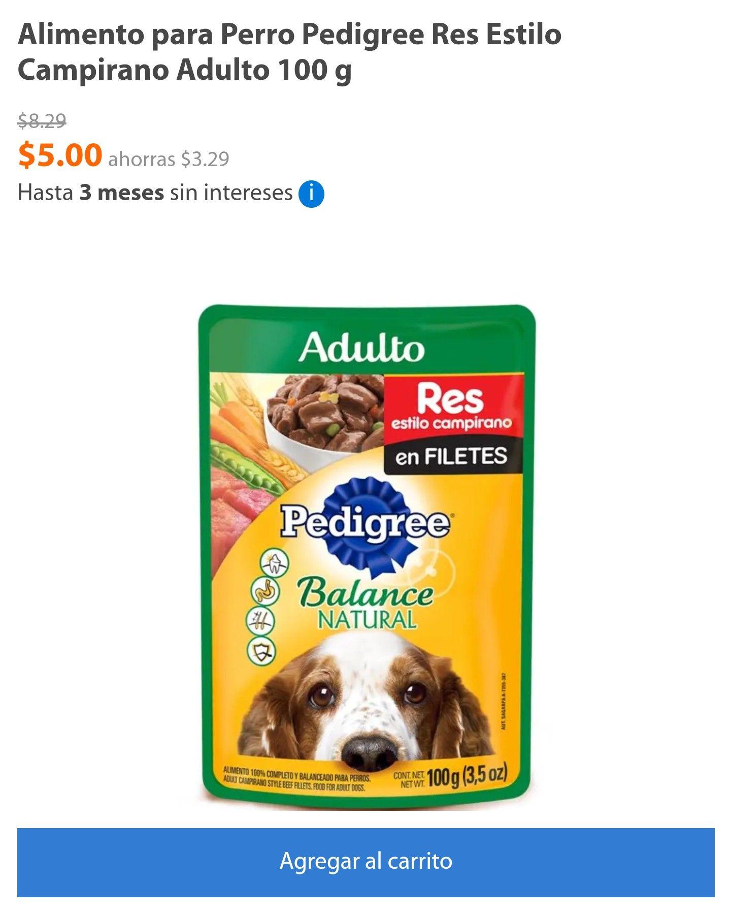 Walmart en línea: Alimento para Perro Pedigree Res Estilo Campirano Adulto 100 g