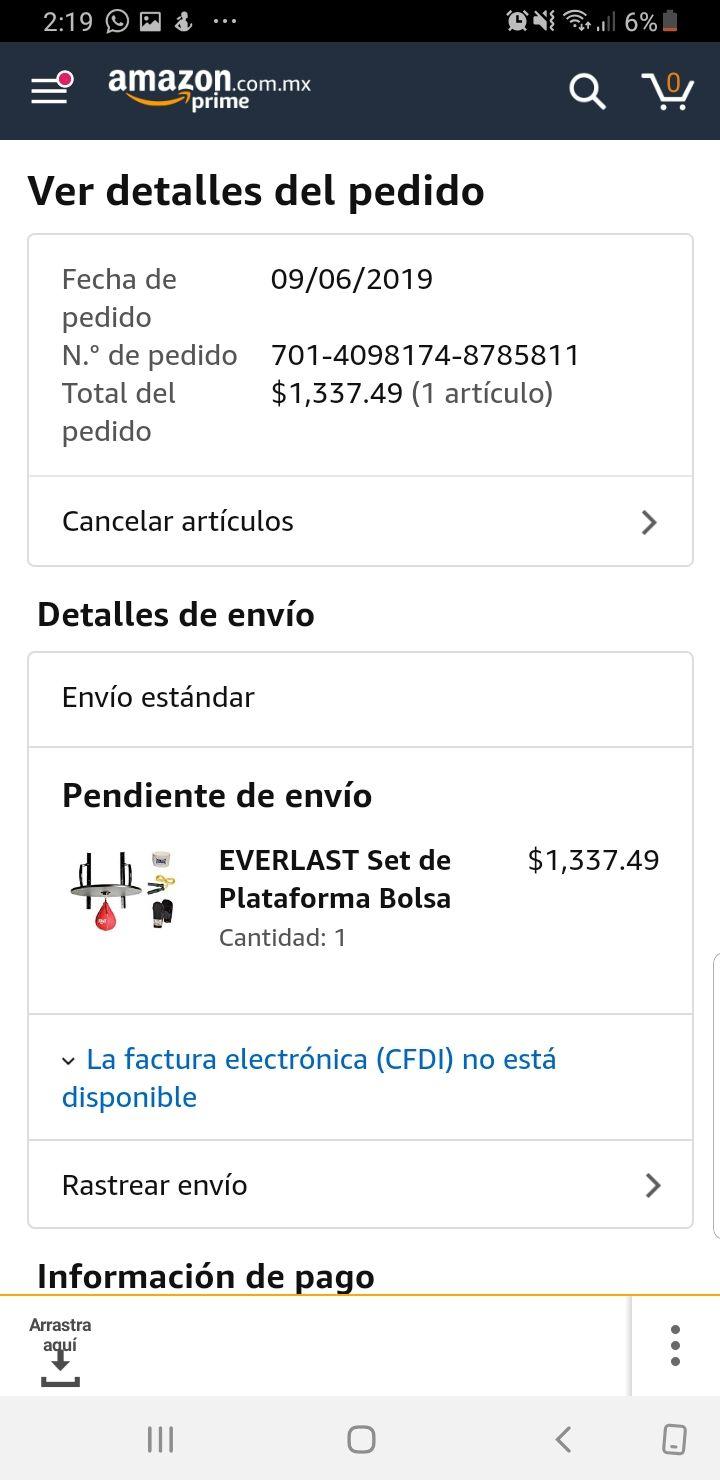 Amazon: Kit boxeo Everlast; Guantes, plataforma, pera, cuerda y vendas.