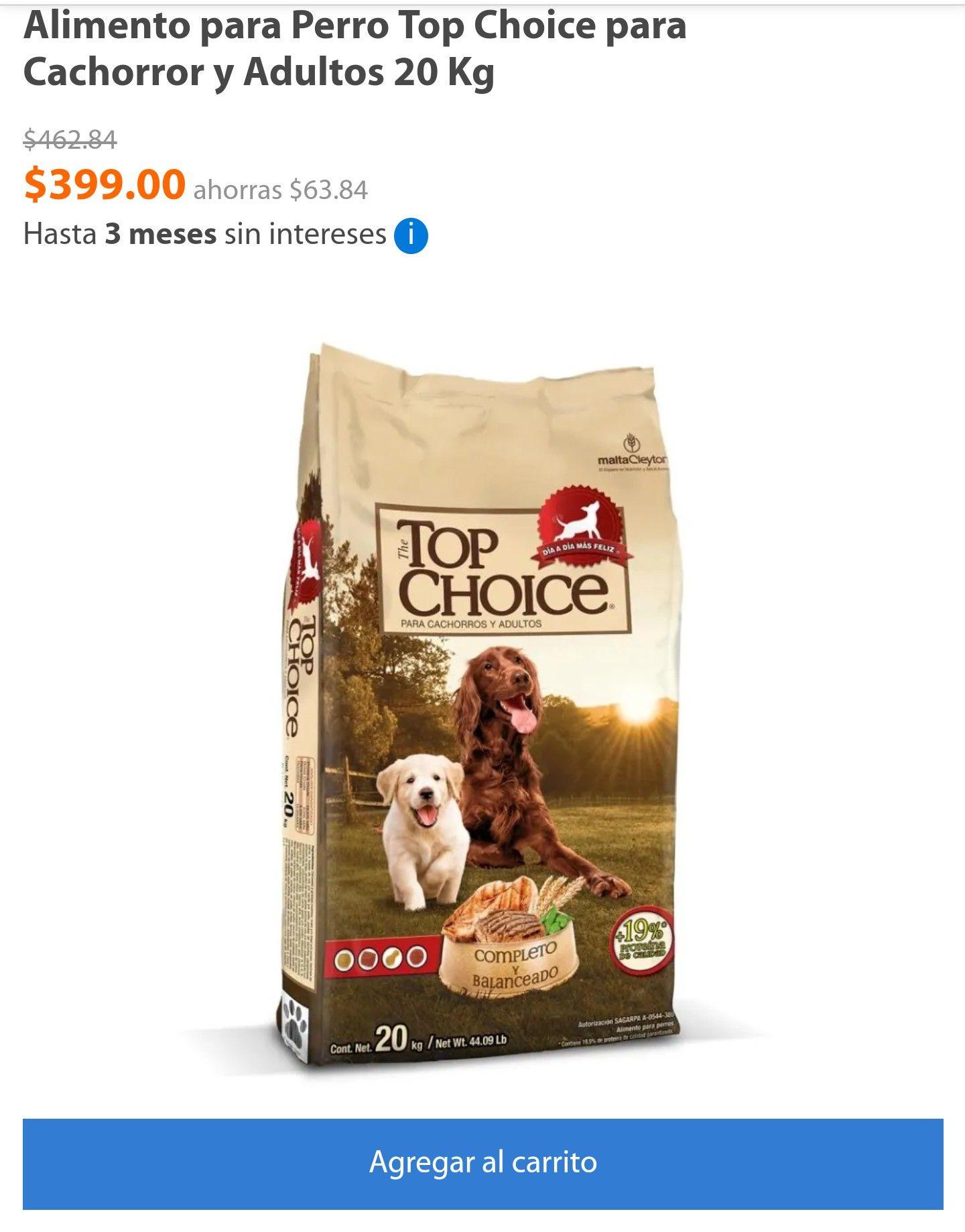 Walmart: Alimento para Perro Top Choice para Cachorror y Adultos 20 Kg  Y Ganador cachorro 20 kg