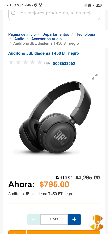 Chedraui: Audifonos JBL diadema T450BT