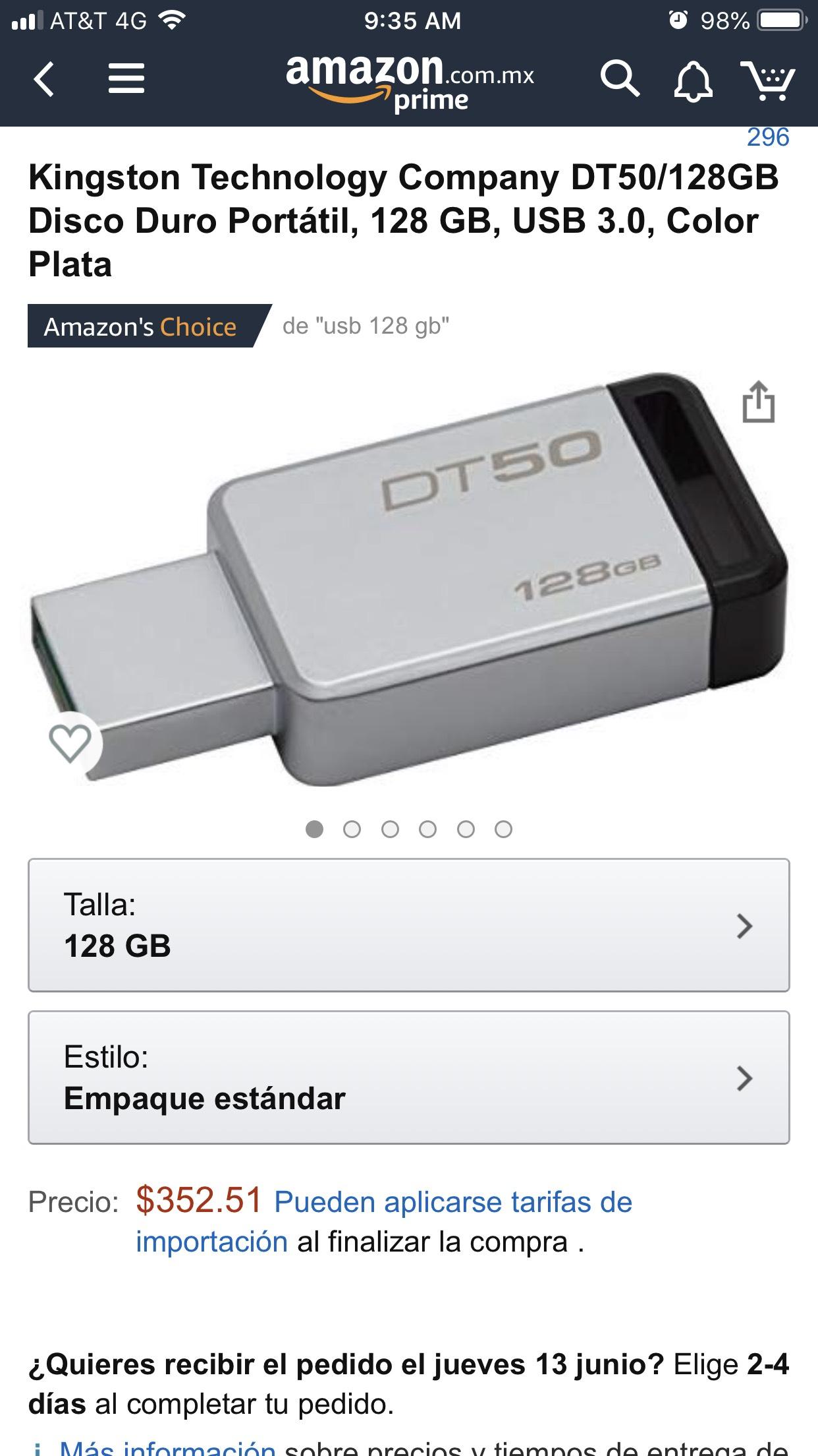 Amazon: Usb Kingston 128 Gb 3.0