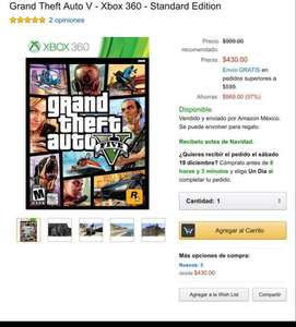 Grand Theft Auto V (Amazon México) Xbox 360