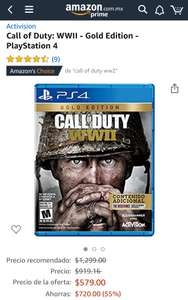 Amazon: Call of Duty WWII Gold Edition para PS4