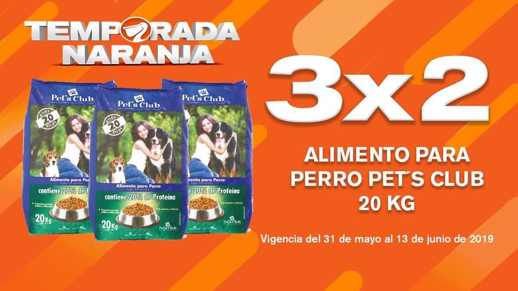 Temporada Naranja en La Comer: 3x2 Alimento para Perro Pet's Club 20kg, Vigencia al 13 de Junio 2019.