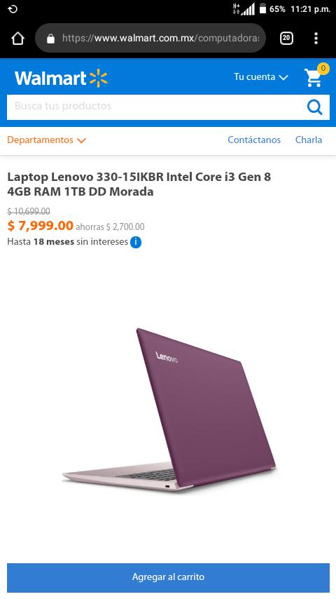 Walmart en línea: Laptop Lenovo 330-15IKBR Intel