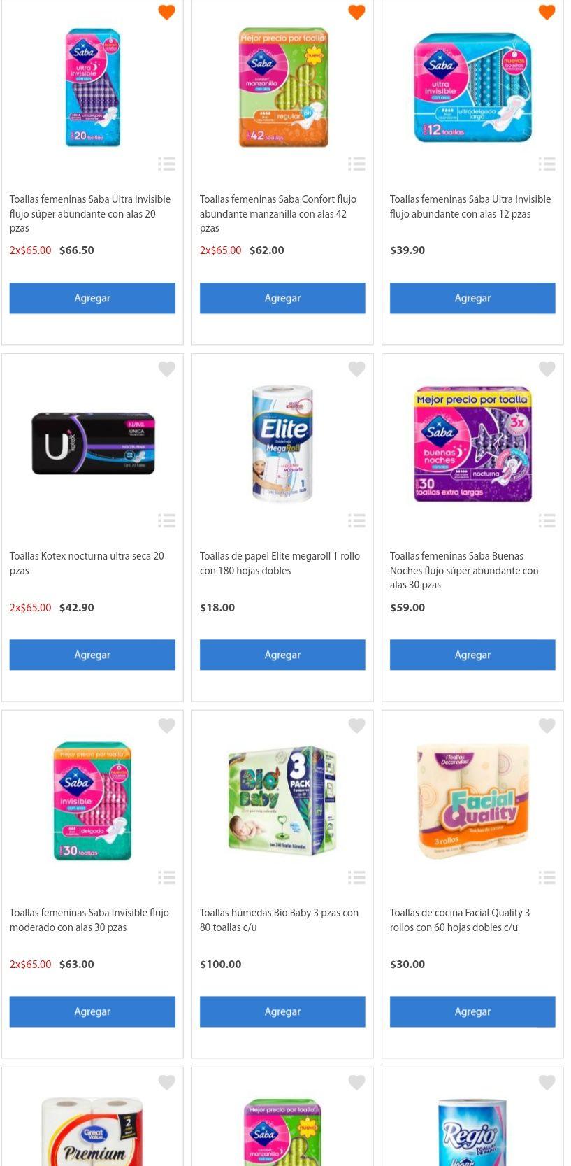 Walmart en línea: Toallas femeninas a 2x$65