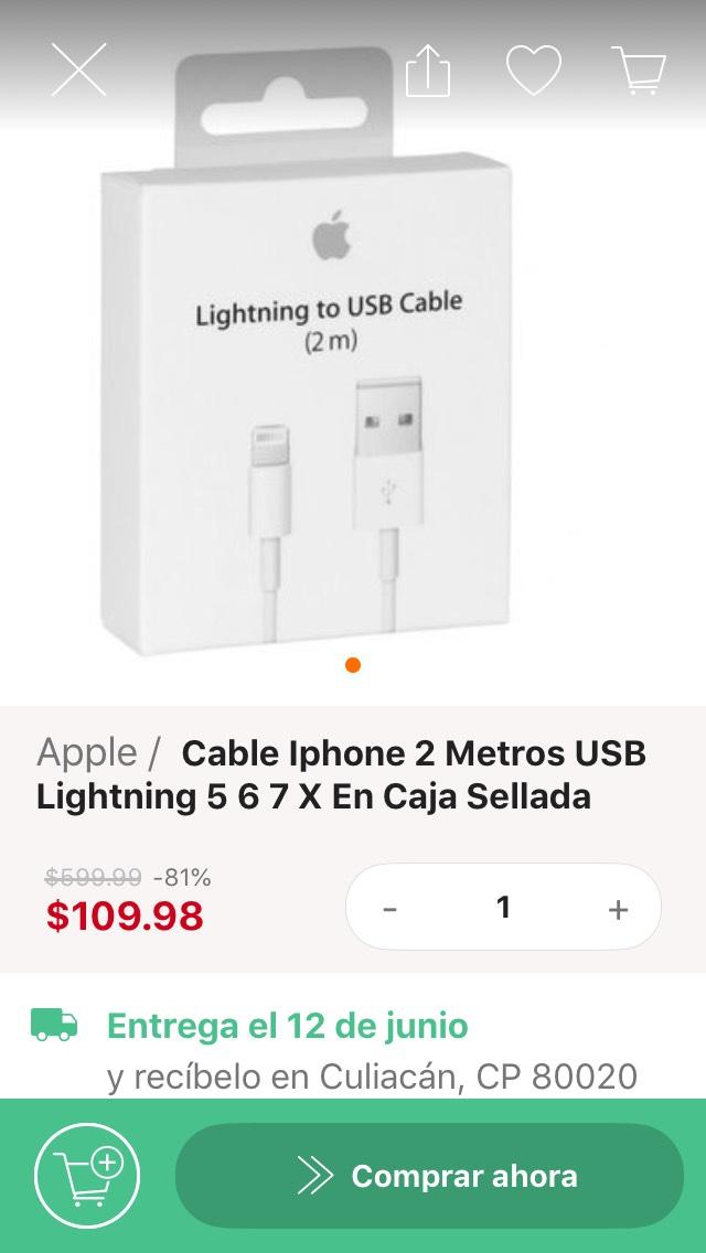 Linio: Cable lightning 2 metros para iPhone