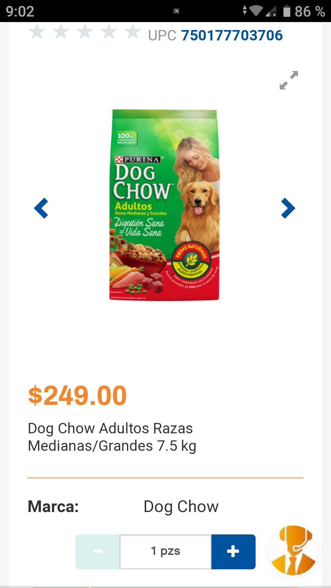 Chedraui: Dog Chow Razas M/G 7.5 KG