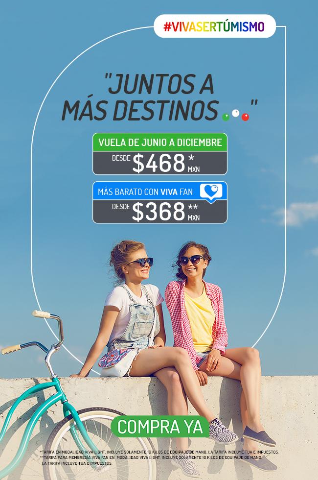 VivaAerobus: Vuelos sencillos de Junio a Diciembre desde $468 ($368 con VivaFan) en VivaLight comprando del Lunes 10 al Domingo 16 de Junio