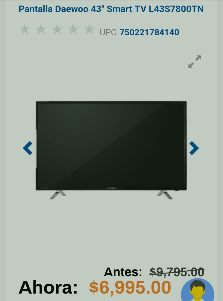 """Chedraui: Pantalla Daewoo 43"""" Smart TV L43S7800TN"""