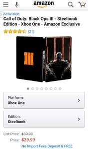 Amazon USA: Call of Duty Black Ops 3 para Xbox One y PS4 + Steelbook a $39.99 USD