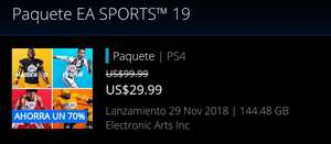 PlayStation Store: Paquete EA Sports 19 (Fifa, NFL, NBA, NHL)