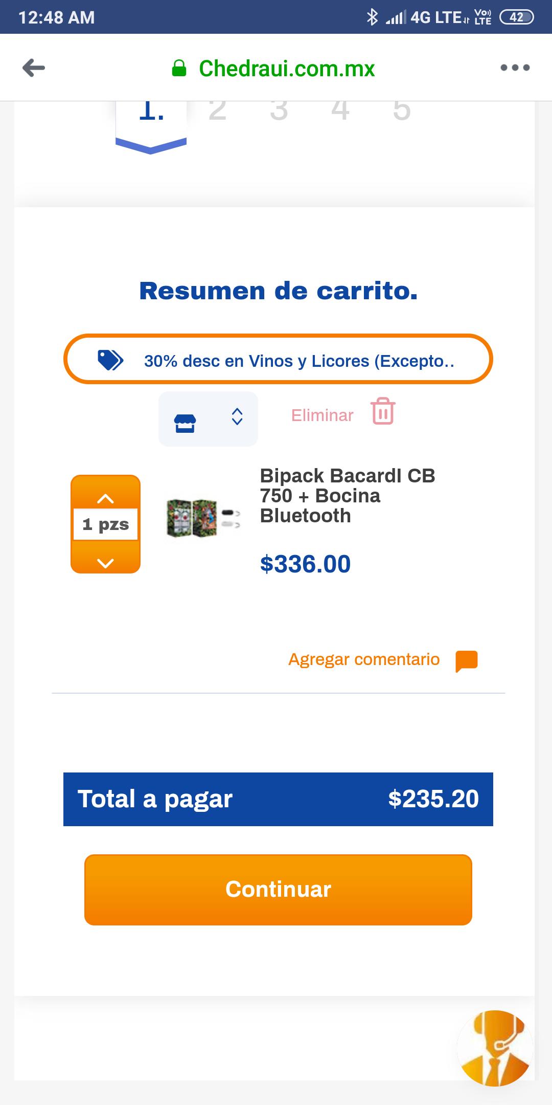 Chedraui en línea: 2 Bacardi Blanco + 1 bocina Bluetooth