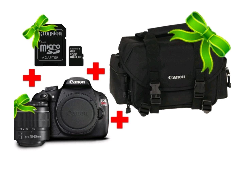 Linio - Cámara Reflex Canon Eos T5 + Lente 18-55mm-Negro + Memoria Kingston 8gb Micro Sd Hc + Maleta