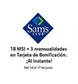 Sam's Club   18 MSI + 3 meses en tarjeta de Bonificación con TC Santander del 14 al 17 de junio, compra mínima $3,500