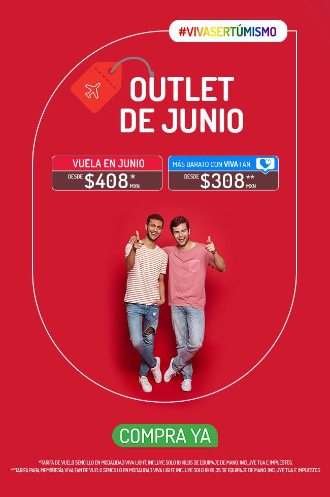 VivaAerobus: Outlet de Junio: Vuelos sencillos en Junio desde $408 ($308 con VivaFan) en VivaLight