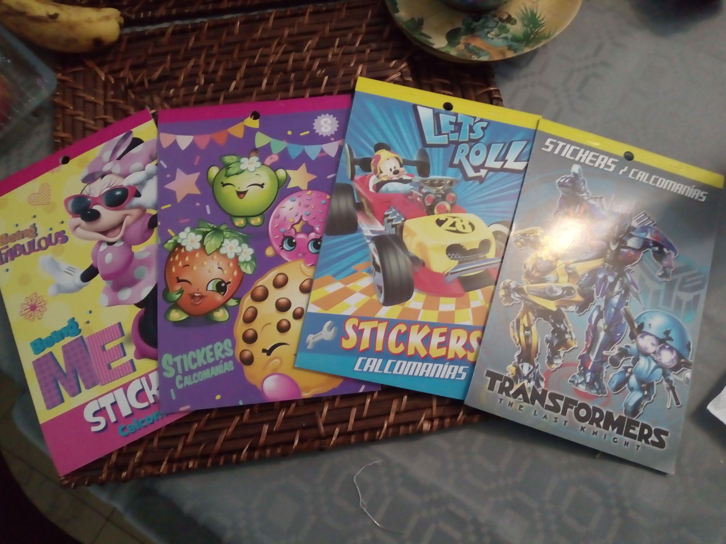 Walmart Block stickers calcomanías minnie, transformes, Mickey y shopkins en última liquidación.