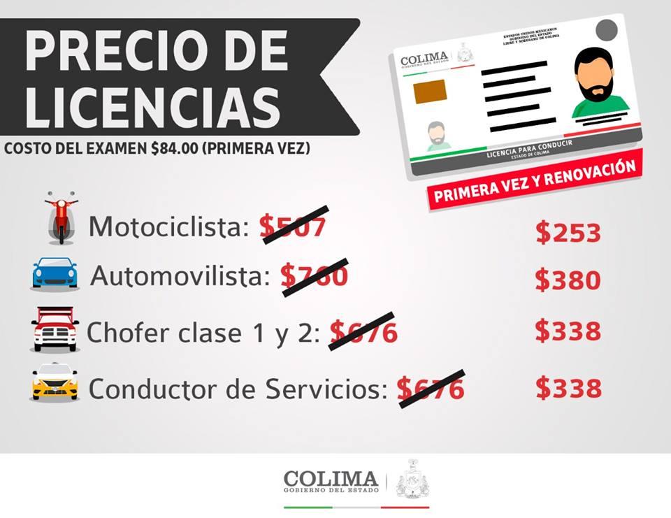 50% de descuento en licencias los meses de Junio Y Julio en estado de Colima.