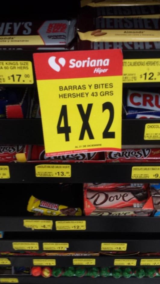 Soriana Híper: 4x2 en Barras de Chocolate y Bites Hersheys de 43grs