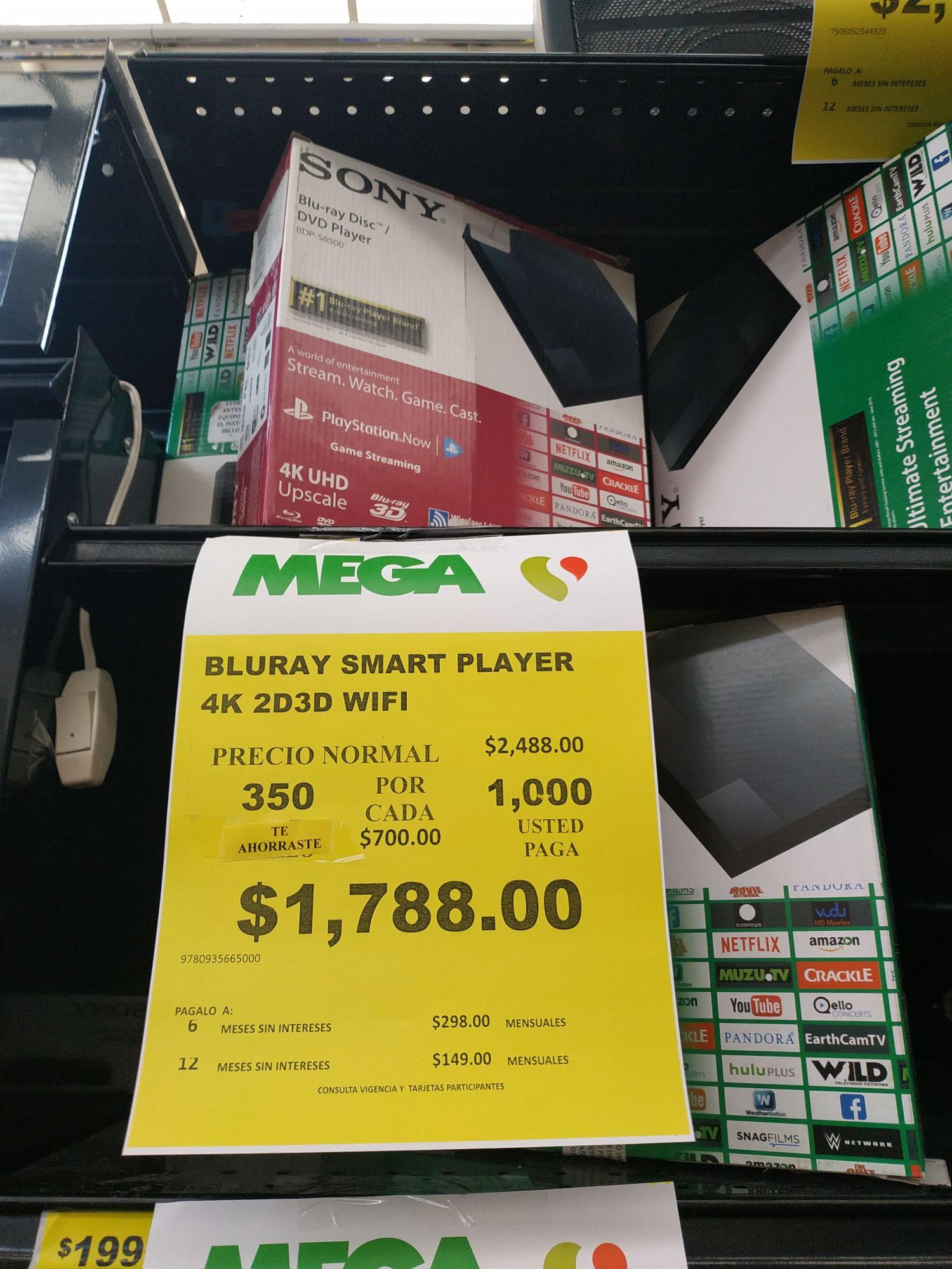 Mega Soriana. (OJO, REPRODUCE EN 4K) Reproductor de Blu Ray 4k Sony BDP S6500
