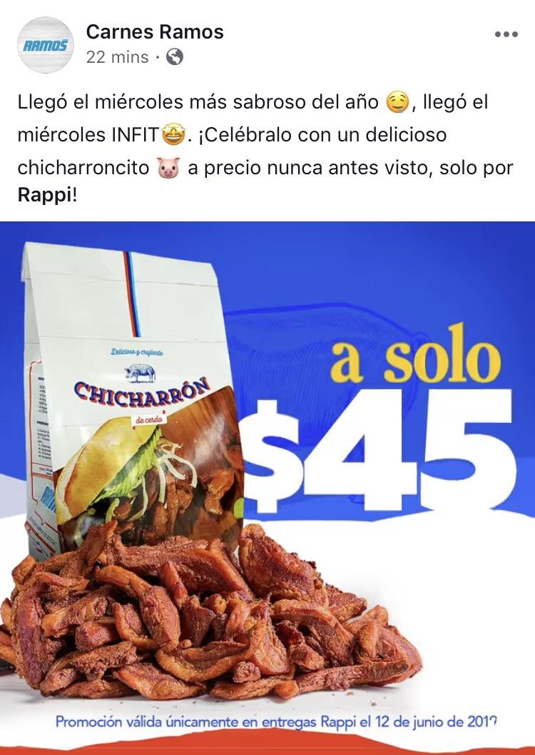 Rappi: 1/2 kg de Chicharrón por $45 (Carnes Ramos Mty) **La extendieron hasta hoy jueves**