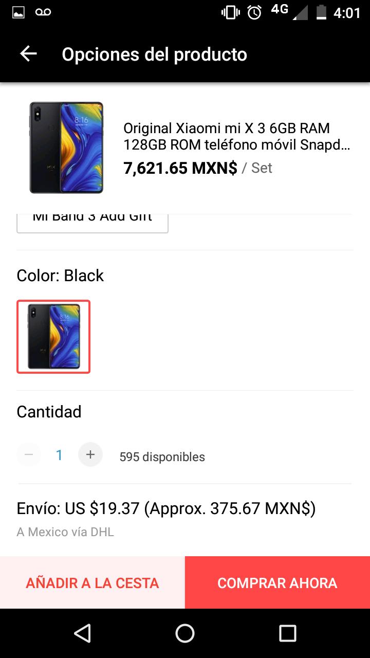 Aliexpress: Xiaomi Mi Mix 3 $7621 + $371 de envío