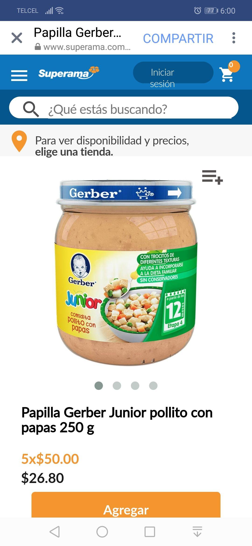 Superama: Papilla Gerber Junior pollito con papas 250 g (5x$50)