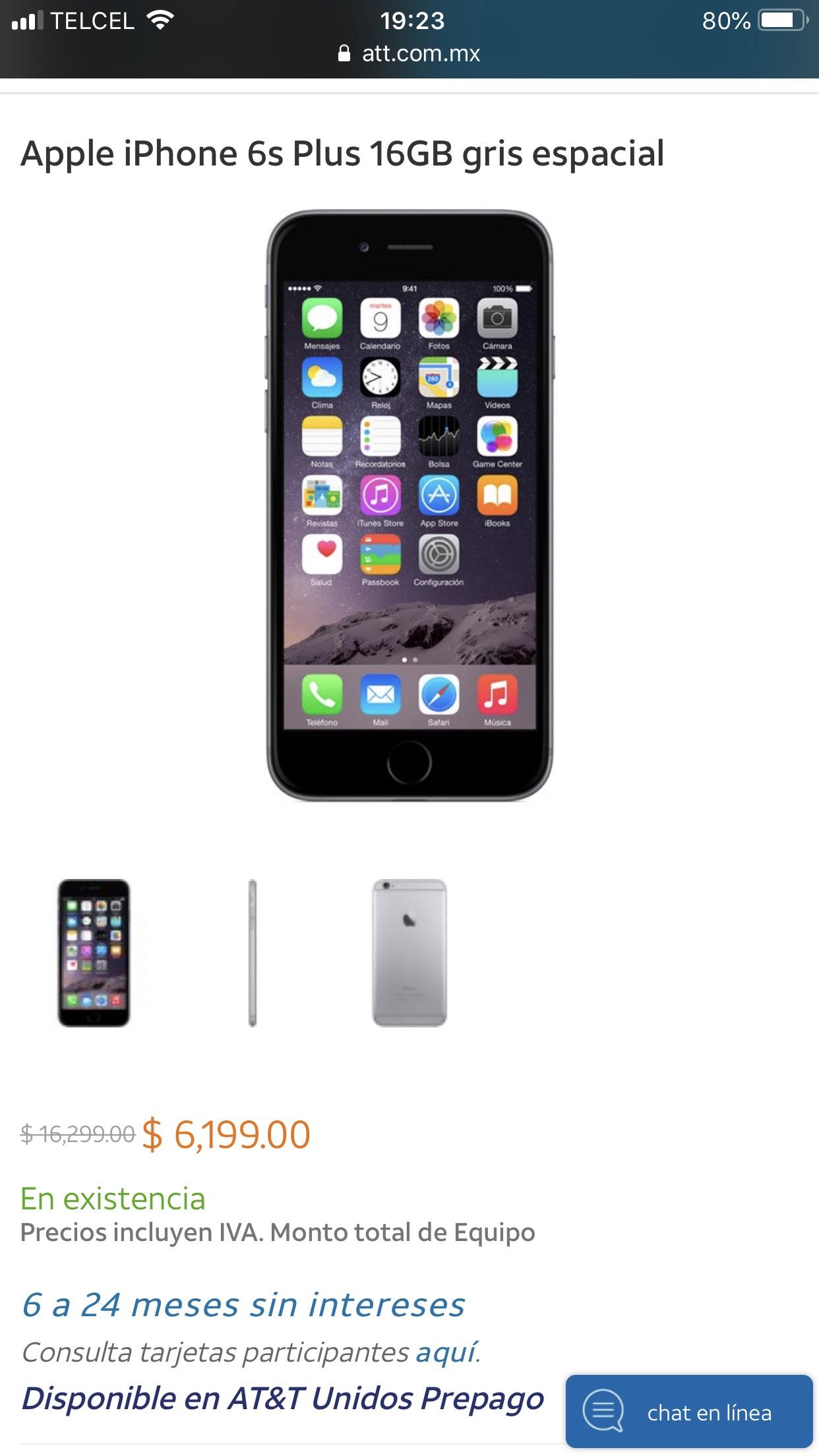 At&t: IPhone 6s Plus 16GB $6199