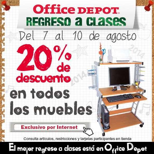 Office Depot: 20% de descuento en todos los muebles, 25% en notas y más