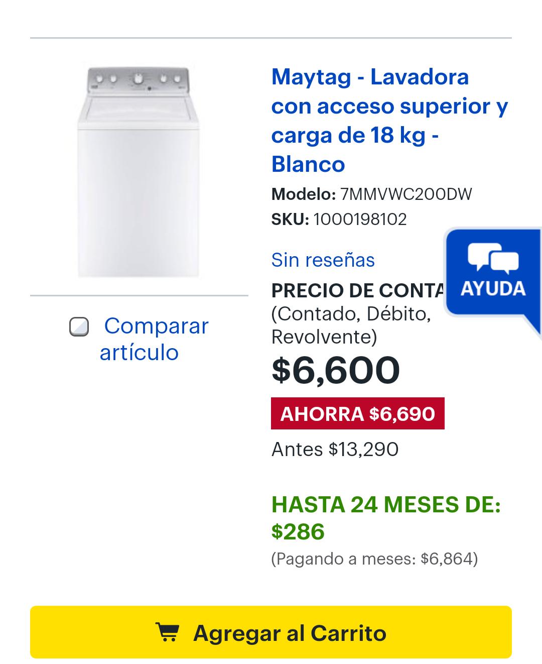 Best buy: Maytag - Lavadora con acceso superior y carga de 18 kg - Blanco
