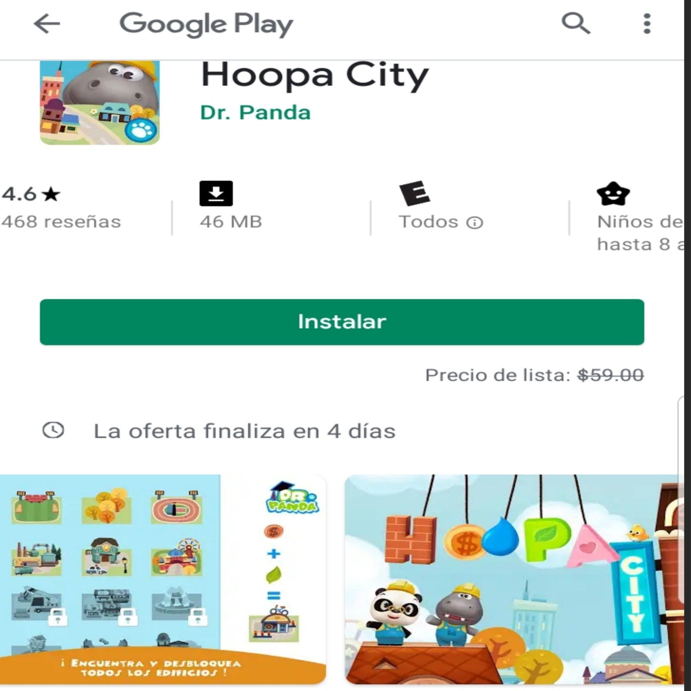 Google Play: Hoopa City 1 Dr Panda (Precio habitual $59)