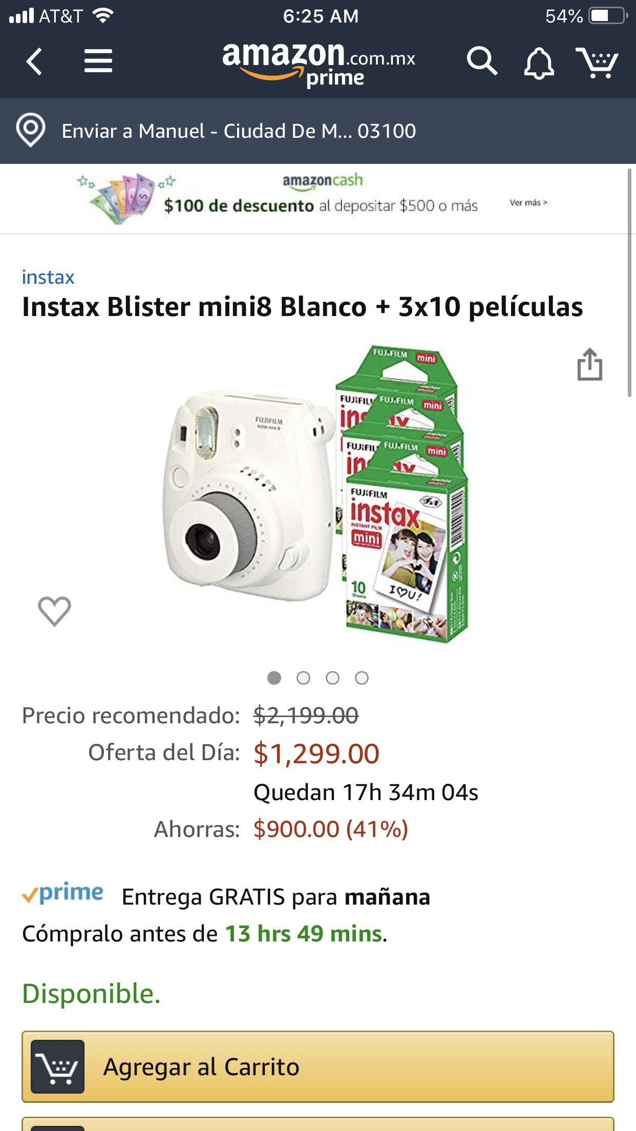 Amazon: Instax Blister mini8 Blanco + 3x10 películas