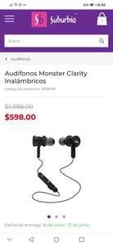 Suburbia audífonos monster clarity Bluetooth . MSi 12 o 18