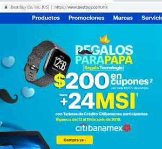 Best Buy MEX Banamex hasta 24 msi y otras mas 18 y 12