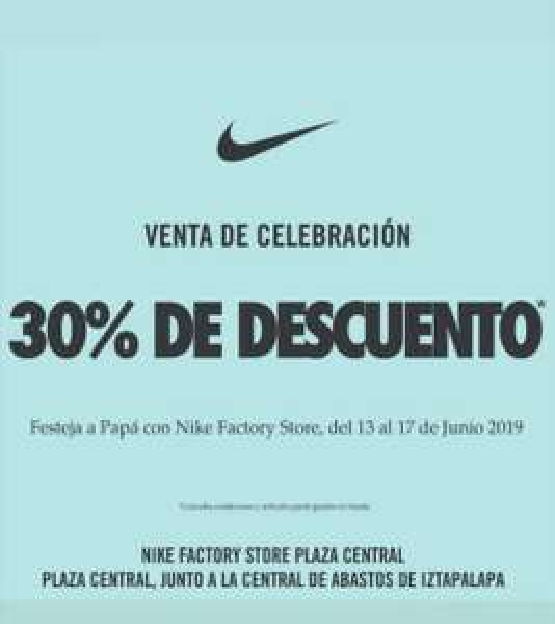 Nike factory 30% de descuento