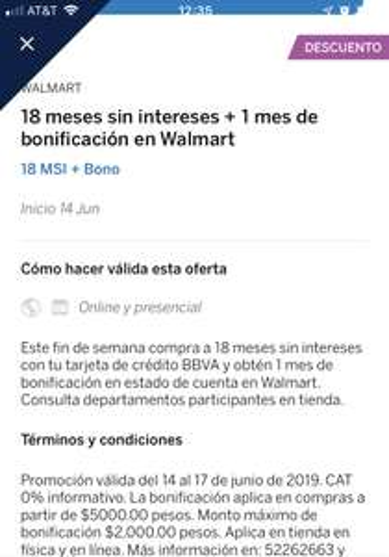 WALMART : 18 meses sin intereses + 1 de bonificación pagado con BBVA