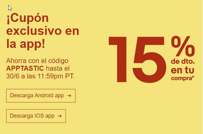 eBay: 15% de descuento en la app