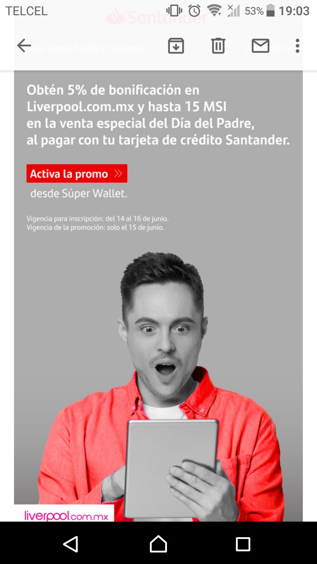 Liverpool: 5% bonificación y 15 MSI con tarjeta de crédito Santander