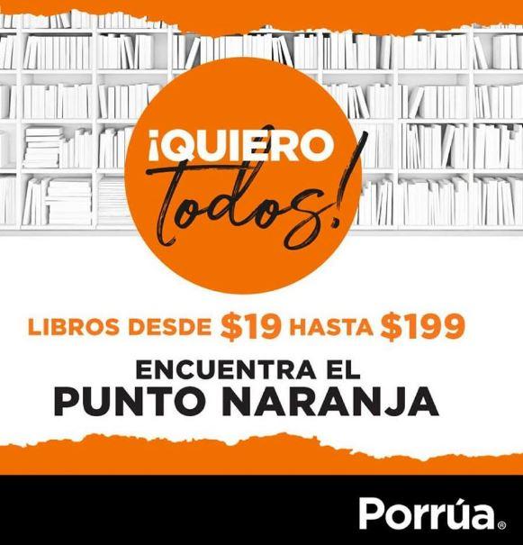 Porrúa: Libros desde 19 hasta 199 con el punto naranja y eventos junio