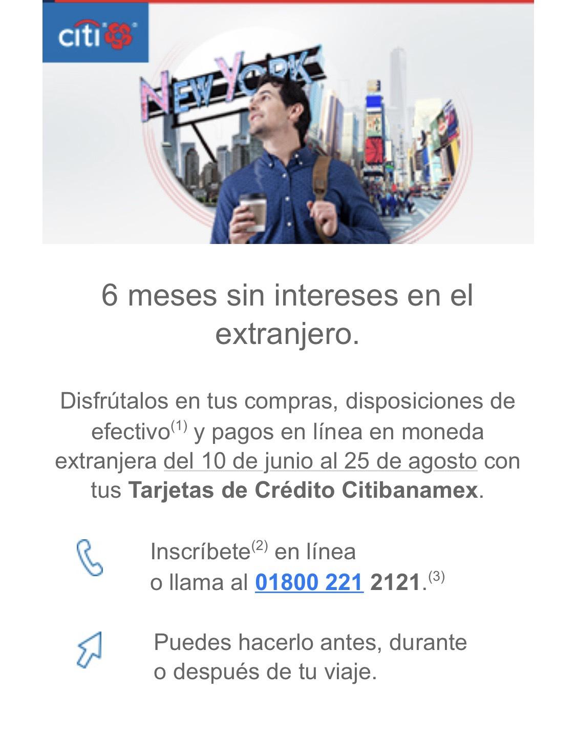Banamex: 6 meses sin intereses en pagos en línea en moneda extranjera